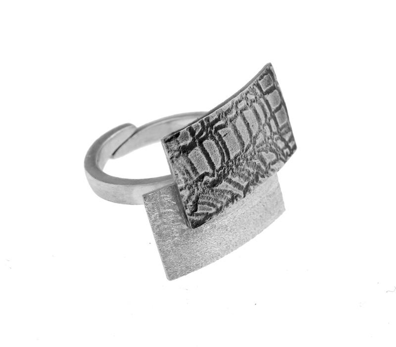 Stelios Ασημένιο δαχτυλίδι παραλληλόγραμμο