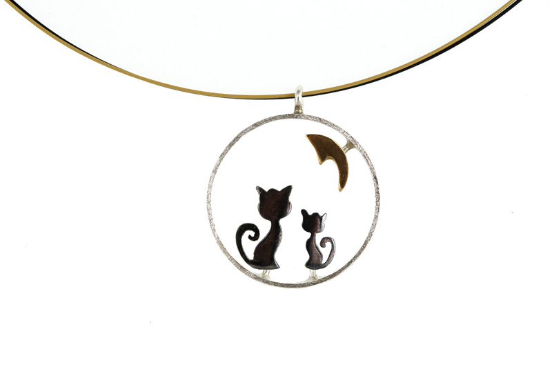 Stelios Ασημένιο κολιέ γάτες με φεγγάρι
