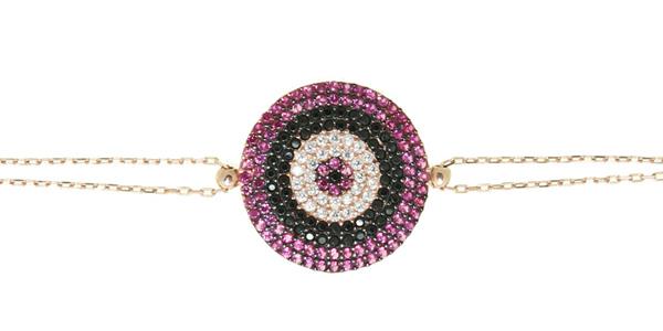 VFJ Βραχιόλι μάτι στόχος από ροζ ασήμι με φούξια ζιργκόν