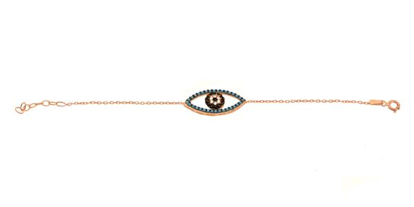 VFJ Βραχιόλι μάτι από ροζ ασήμι με ζιργκόν