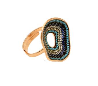 VFJ Ασημένιο δαχτυλίδι κύκλοι με πολύχρωμα ζιργκόν
