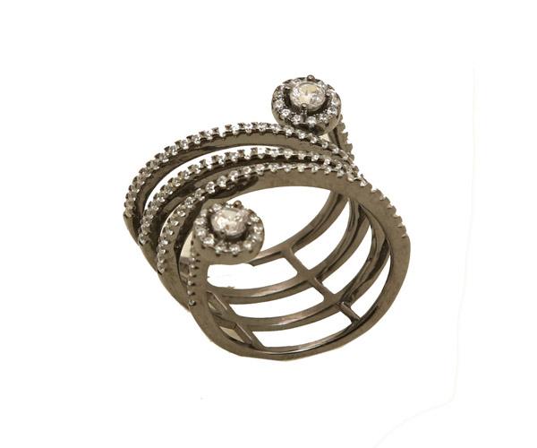 VFJ Ασημένιο δαχτυλίδι σπείρα με λευκά ζιργκόν