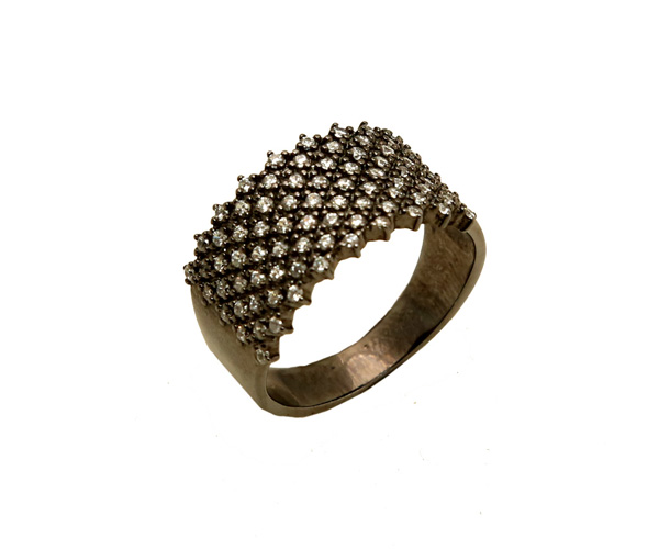 VFJ Ασημένιο δαχτυλίδι με λευκά ζιργκόν και μαύρο πλατίνωμα