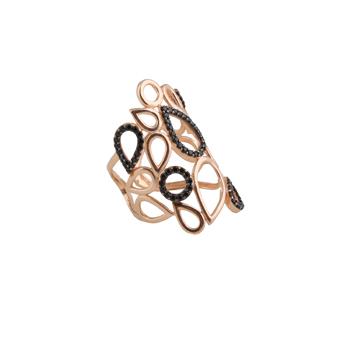 VFJ Δαχτυλίδι λαχούρια με ροζ ασήμι και μαύρα ζιργκόν