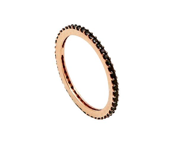 VFJ Ασημένιο ολόβερο δαχτυλίδι ροζ επιχρύσωμα και μαύρα ζιργκόν