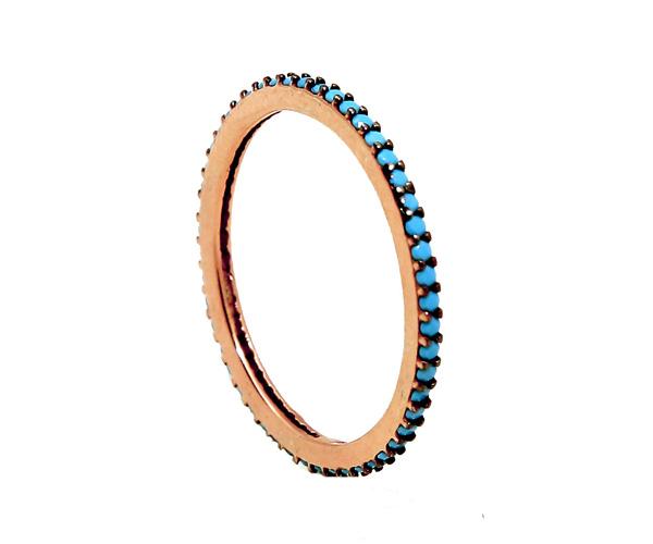 VFJ Ασημένιο ολόβερο δαχτυλίδι με ροζ επιχρύσωμα και τιρκουάζ