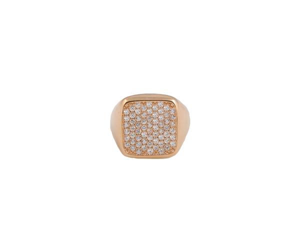 VFJ Σεβαλιέ δαχτυλίδι τετράγωνο με ροζ ασήμι και λευκά ζιργκόν