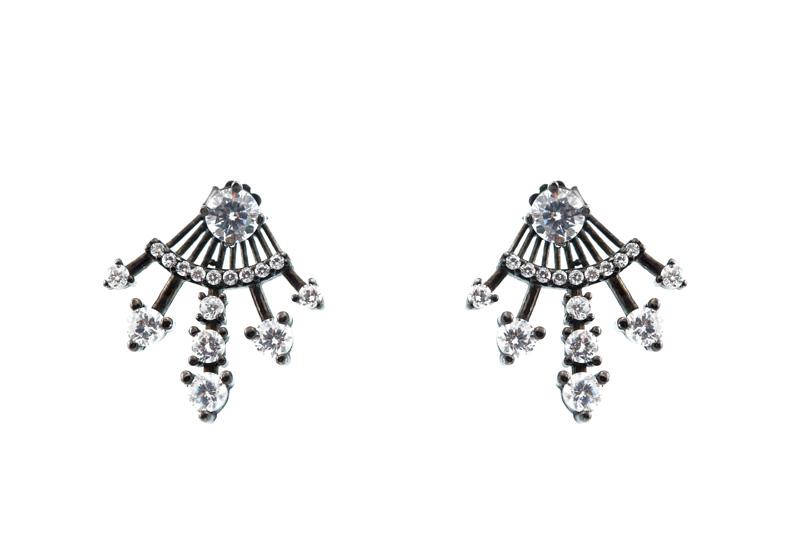 VFJ Ασημένια ear jackets σκουλαρίκια με ζιργκόν
