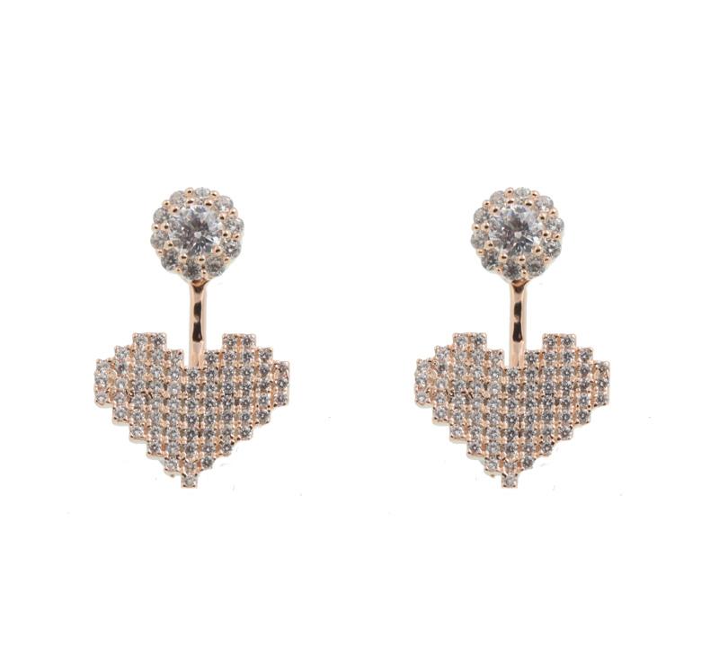 VFJ Ροζ ασημένια ear jackets σκουλαρίκια καρδιά με ζιργκόν
