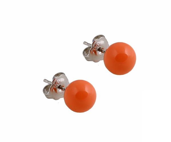 VFJ Ασημένια σκουλαρίκια μπίλια πορτοκαλί-ροζ κοράλλι