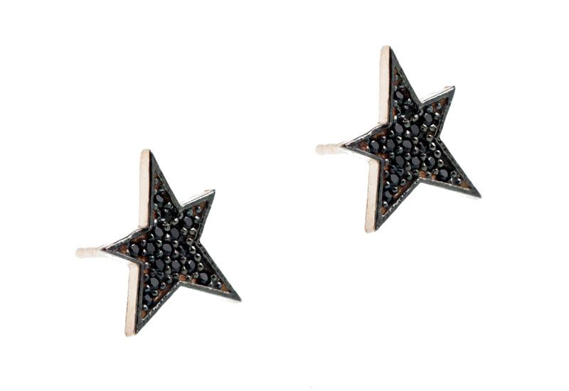 VFJ Ασημένια σκουλαρίκια αστέρια με μαύρα ζιργκόν