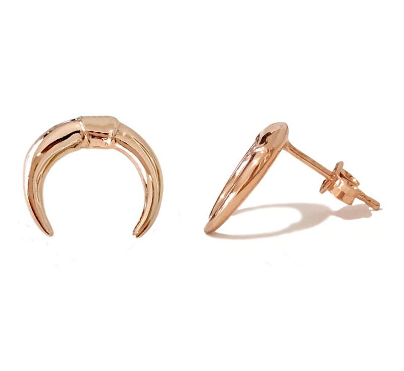 VFJ Ασημένια σκουλαρίκια ροζ διπλό κέρατο
