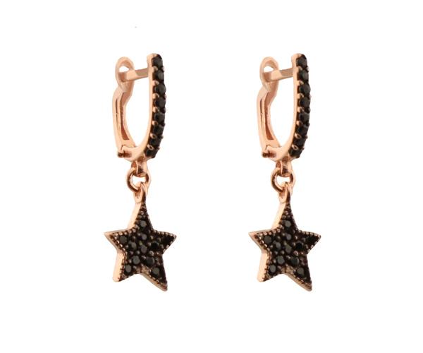 VFJ Ασημένια σκουλαρίκια κρίκοι αστέρια με μαύρα ζιργκόν