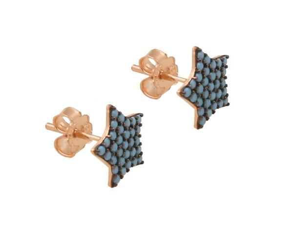 VFJ Ασημένια σκουλαρίκια αστέρια με τιρκουάζ ζιργκόν