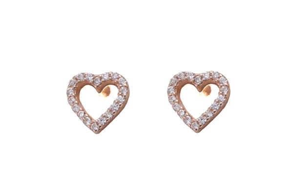 VFJ Σκουλαρίκια καρδιά από ροζ ασήμι με λευκά ζιργκόν