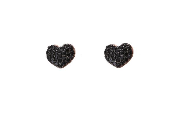 VFJ Σκουλαρίκια καρδιά από ροζ ασήμι με μαύρα ζιργκόν