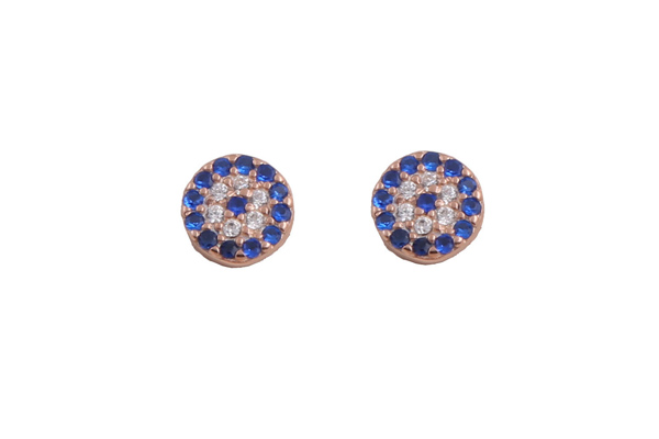 VFJ Σκουλαρίκια μάτι στόχος σε ροζ ασήμι με μπλε ζιργκόν