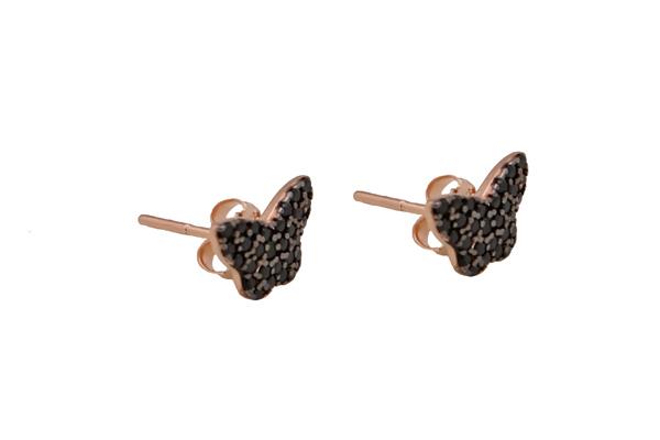 VFJ Ασημένια σκουλαρίκια πεταλούδες με μαύρα ζιργκόν