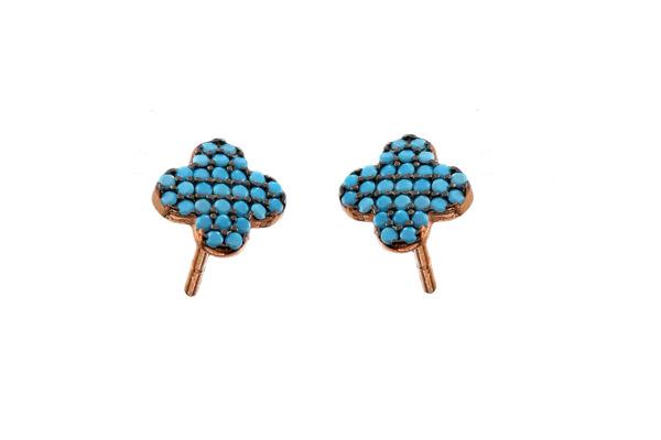 VFJ Ασημένια σκουλαρίκια σταυρός με τιρκουάζ ζιργκόν