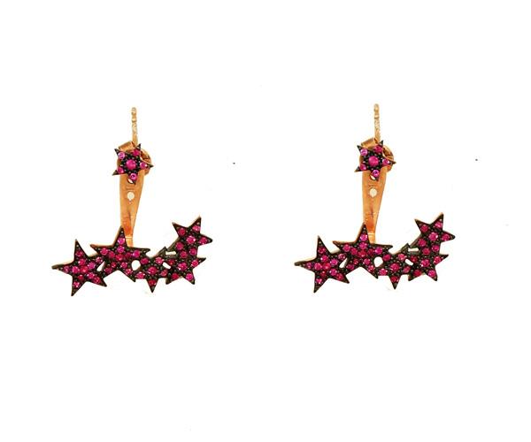 VFJ Ασημένια ear jackets σκουλαρίκια αστέρια με ζιργκόν