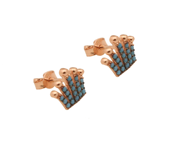 VFJ Ασημένια σκουλαρίκια κορώνα με τιρκουάζ ζιργκόν