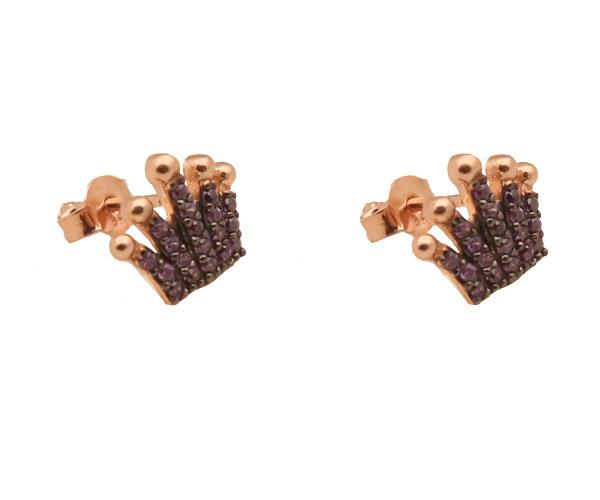 VFJ Ασημένια σκουλαρίκια κορώνα με μωβ ζιργκόν