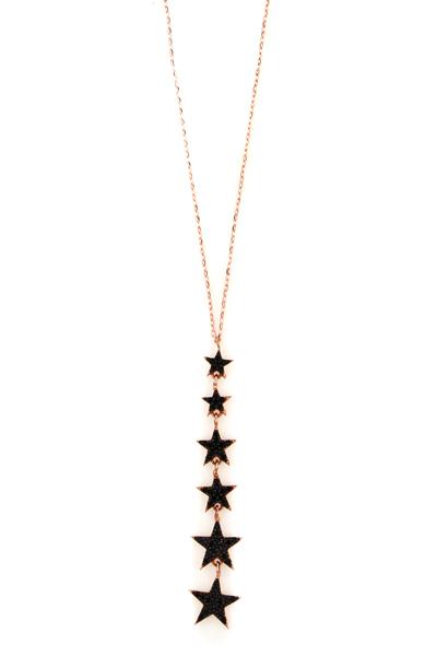 VFJ Κολιέ αστέρια από ροζ ασήμι με μαύρα ζιργκόν