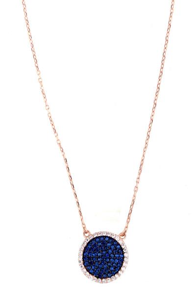 VFJ Ασημένιο κολιέ κύκλος με μπλε ζιργκόν