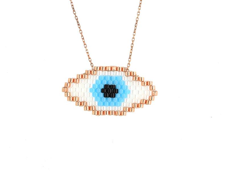 VFJ Κολιέ γαλάζιο μάτι από ροζ ασήμι και χάντρες Miyuki