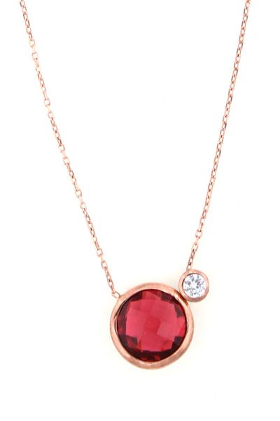 VFJ Μονόπετρο κολιέ κόκκινο ζιργκόν από ροζ επιχρυσωμένο ασήμι