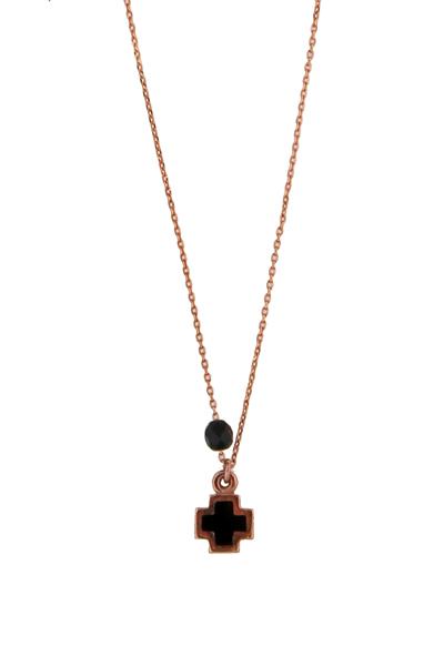 VFJ Ροζ χρυσό κολιέ σταυρός με μαύρο σμάλτο